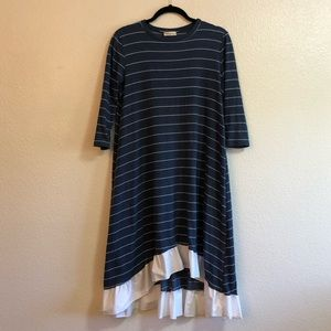 Blue Striped Hi-Low Dress With Ruffle